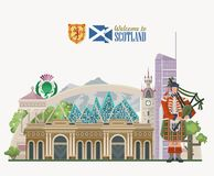 Scotland travel vector background in modern style. Scottish landscapes. Colorful detailed illustration with scottish national objects Stock Illustration