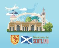 Scotland travel vector banner in modern style. Scottish landscapes. Colorful detailed illustration with scottish national objects Vector Illustration