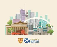 Scotland travel vector flyer in modern style. Scottish landscapes. Colorful detailed illustration with scottish national objects Royalty Free Illustration