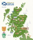 Scotland travel vector map in modern style. Scottish landscapes. Colorful detailed illustration with scottish national objects Royalty Free Illustration