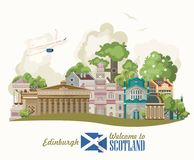Scotland travel vector in modern light design. Scottish landscapes. Colorful detailed illustration with scottish national objects Stock Illustration