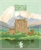 Scotland travel vector in modern style. Scottish landscapes. Colorful detailed illustration with scottish national objects Royalty Free Illustration