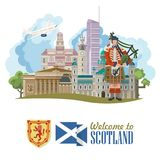 Scotland travel vector poster in modern style. Scottish landscapes. Colorful detailed illustration with scottish national objects Stock Illustration