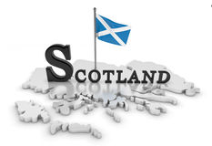 Scotland Tribute. 3D rendered scene with flag and logo Stock Photos