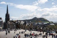 Scotland United Kingdom Edinburgh 14.0 5.2016 - Castle rock place people enjoying sunny day Royalty Free Stock Image