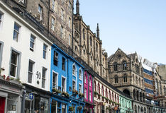 Scotland United Kingdom Edinburgh 14.0 5.2016 - city historic Town Architecture Fassade. Scotland United Kingdom Edinburgh 14.0 5.2016 -colorful city historic Stock Photos