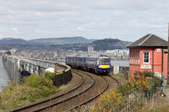 Scotrail train on Tay Bridge passing signalbox Stock Photo