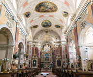 Scots Abbey baroque interior, Vienna, Austria. Baroque interior of Roman catholic church Schottenstift, Scottish Abbey, in old city centre of Vienna, Austria Royalty Free Stock Photography