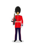 Scots Guard. British Army Scots Guard in red ceremonial uniform Royalty Free Stock Images