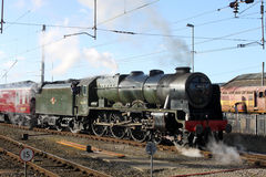 Scots Guardsman steam train at Carnforth Royalty Free Stock Image