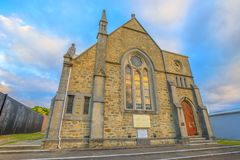 Scots Uniting Church Albany. Albany, Australia - Dec 28, 2017: Scots Uniting Church, originally Scots Presbyterian Church, in a Victorian Academic Gothic style stock photography