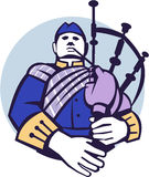 Scotsman Bagpiper Player Circle Retro Royalty Free Stock Photo