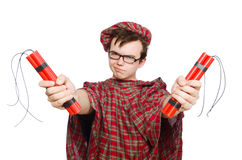 Scotsman with bomb isolated Royalty Free Stock Photography