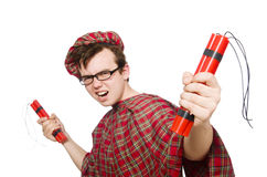 Scotsman with bomb isolated Royalty Free Stock Photo
