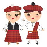 Scotsman boy and girl in national costume and hat. Cartoon children in traditional Scotland dress, guitar. Isolated on white backg. Round. Vector illustration vector illustration