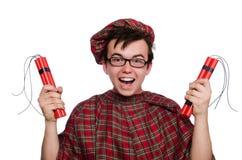 Scotsman con la bomba Imágenes de archivo libres de regalías