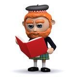 Scotsman 3d, der ein Buch liest Lizenzfreie Stockbilder