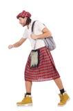 Scotsman extraño con el bolso aislado en blanco Imagenes de archivo