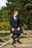 Scotsman in full dress kilt wear stock photos