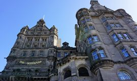 Scotsman Hotel,  Edinburgh. Scotsman Hotel is built in the century old Edwardian Building.  It formerly ia home to The Scotsman Newspaper since 1905.  The hotel Royalty Free Stock Images