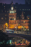 The Scotsman Hotel in Edinburgh. EDINBURGH, SCOTLAND - SEPTEMBER 16, 2014: Famous The Scotsman Hotel at night. It is a very historical and touristic place with Stock Images