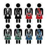 Scotsman, man wearing kilt  icons set Stock Images