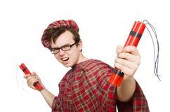 Scotsman mit der Bombe lokalisiert lizenzfreies stockfoto