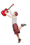 Scotsman playing guitar Royalty Free Stock Photography