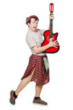 Scotsman playing guitar Stock Images