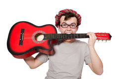 Scotsman playing guitar Royalty Free Stock Photo