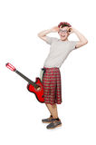 Scotsman playing guitar isolated Royalty Free Stock Images