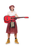 Scotsman playing guitar isolated Royalty Free Stock Photo