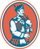 Scotsman Scottish Bagpipes Retro Royalty Free Stock Images