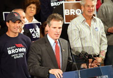 Scott Brown speaking. Scott Brown senator from Massachusetts who will replace Ted Kennedy speaking at a rally in Massachusetts Stock Photo