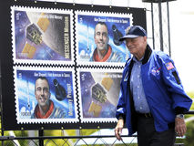Scott Carpenter. The first day issue dedication ceremony Mercury Project/Messenger Mission stamp was unveiled this afternoon at Kennedy Space Center Visitor Royalty Free Stock Photos
