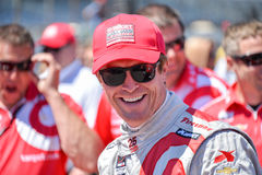 Scott Dixon, Indy Car driver. Indy Car driver Scott Dixon is jubilant after winning the Indy 500 Pit Stop Challenge at the Indianapolis Speedway on May 23 2014 Stock Image