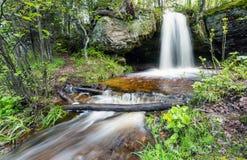 Scott Falls i våren - Audrev Michigan Fotografering för Bildbyråer
