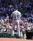 Scott Kazmir. Tampa Bay Ray pitcher Scott Kazmir in action against the Boston Red Sox.   Image taken from color slide Royalty Free Stock Images
