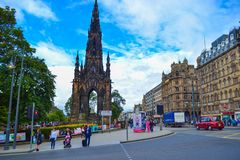 Scott Monument and Princes Street in Edinburgh, Scotland stock photo