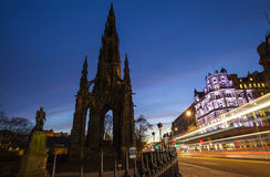 Scott Monument and Princes Street in Edinburgh Stock Photography