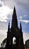 Scott Monument in Sunlight. Spirelike Victorian memorial in honour of the writer Sir Walter Scott, with 287 steps to the top in afternoon sunlight Stock Images