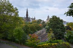The Scott monument and the train tracks in Edinburgh royalty free stock image
