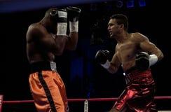 Scott Pemberton. Former professional boxer Scott Pemberton gets ready to swing at Jeff Left Hook Lacy Stock Photos