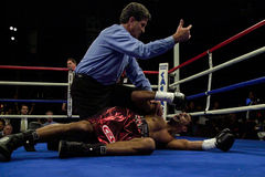 Scott Pemeberton knocked out by Jeff Lacy. Former professional boxer Scott Pemberton gets the 10 count after taking a left hook from Jeff Left Hook Lacy Stock Photo