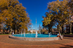 Scott Plaza and Fonville Fountain at Elon University Stock Photos