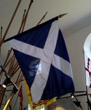 Scottich flaf at Etal Cstle in England. Flags and standards at Etal Castle in the Border area between England and Scotland stock photo