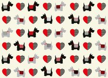Scottie dogs with valentine hearts repeat pattern. Scottie dogs with valentine hearts seamless repeat pattern Royalty Free Stock Photography