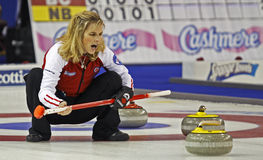 Scotties curling jennifer jones talks Royalty Free Stock Images
