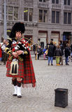 Scottis bagpiper, Amsterdam, The Netherlands Stock Images