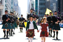 Scottish Bagpipe Band. Picture Taken During The 13th Annual Tartan Day Parade On Saturday April 9, 2011 In New York City. The Parade Begins At 45th Street On stock images